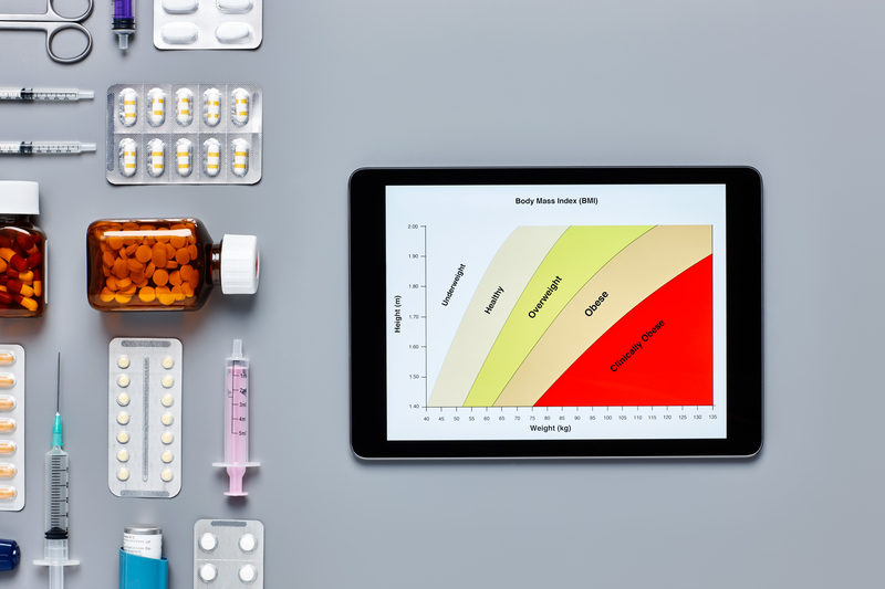 A BMI chart on a tablet
