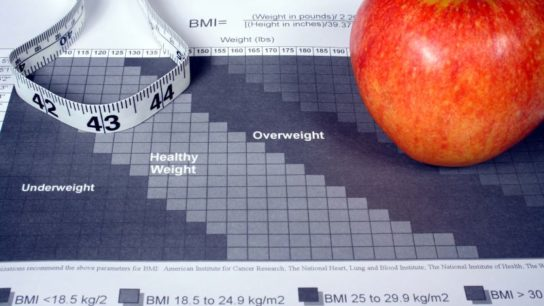 A BMI chart on a table