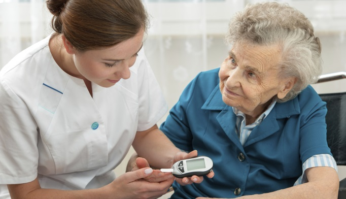 Elderly woman with diabetes