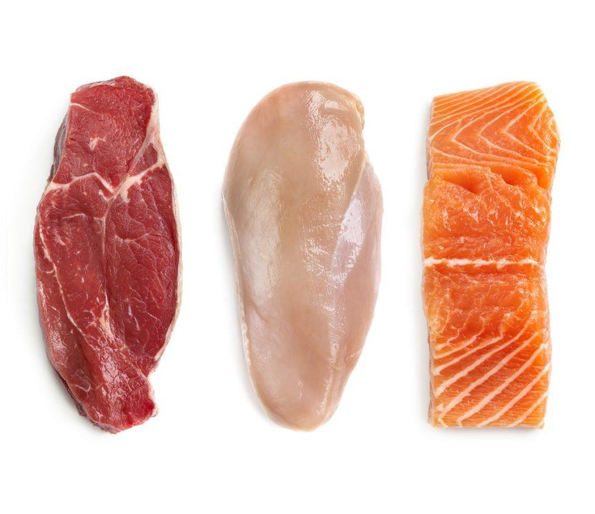 Food proteins, beef, chicken, fish