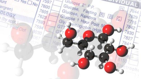 Glucose molecules.