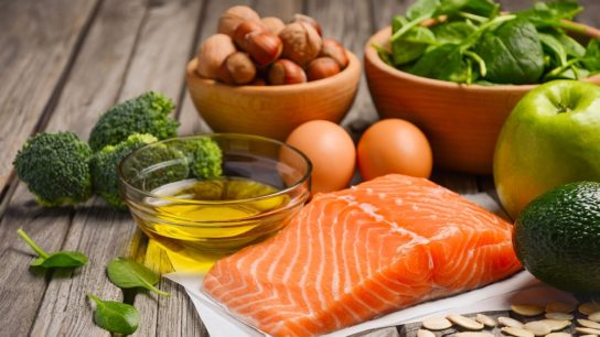 A selection of food containing healthy fats