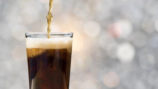 soda poured into a glass