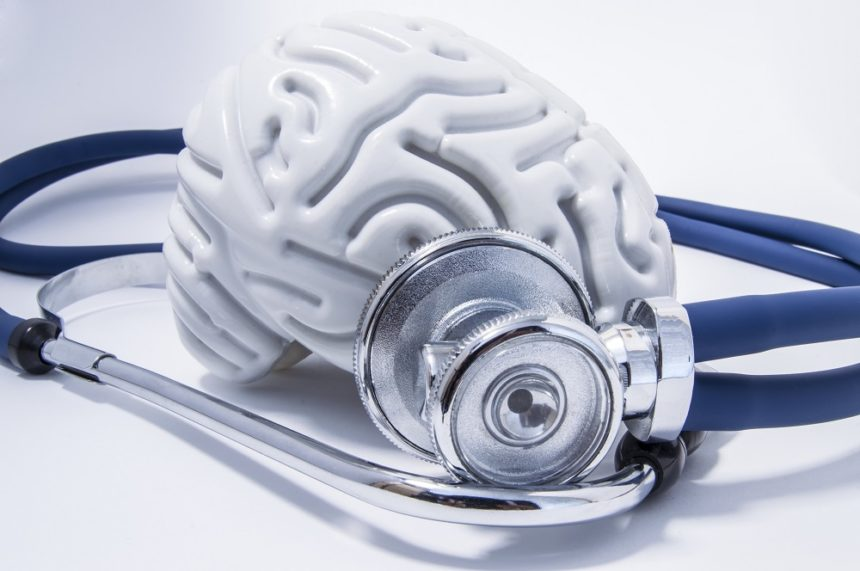 figure of brain and a stethoscope