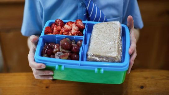 A child holding a lunchbox of healthy food