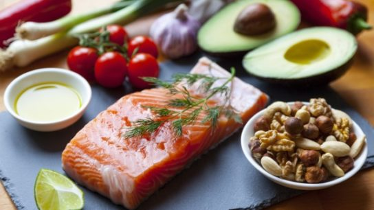 The mediterranean diet focuses on eating fruits, vegetables, whole grains, beans, nuts, legumes, and olive oil. Seafood should be eaten at least a couple of times a week whereas poultry, eggs, cheese, and yogurt can be consumed every once in a while. Sweets and red meat should be reserved for special occasions.