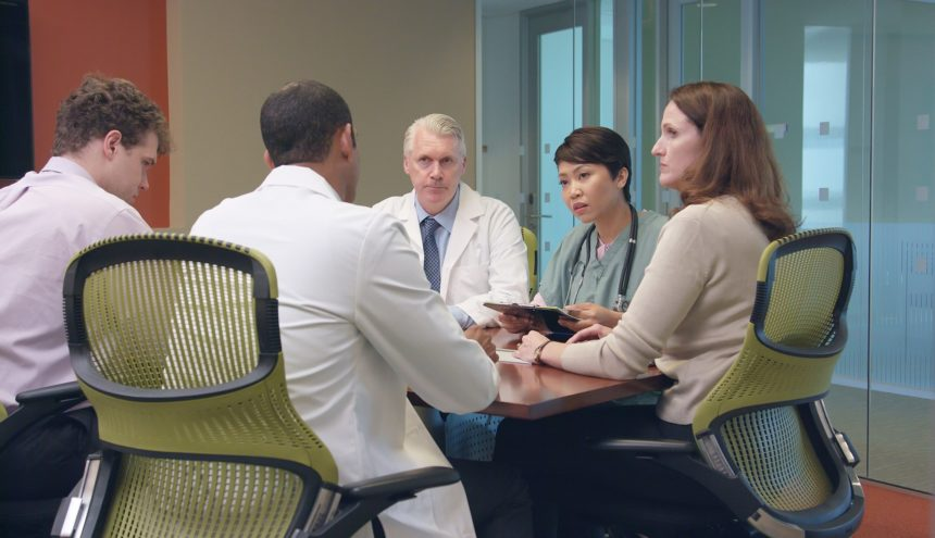 Multi-ethnic doctors in a meeting
