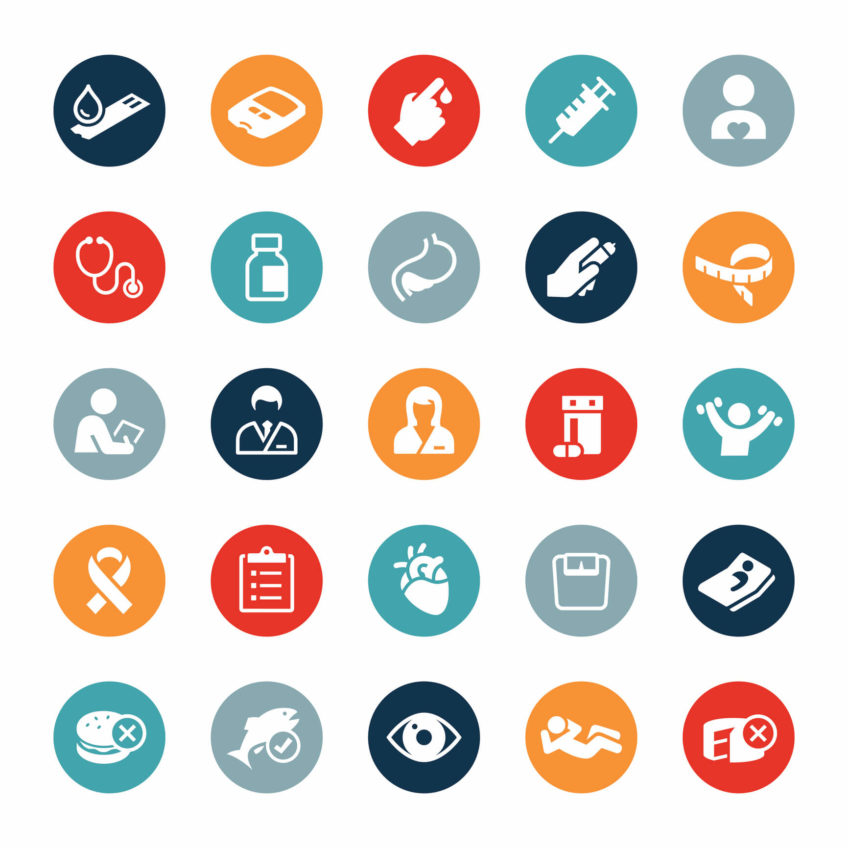 Icons representing different aspects of diabetes management