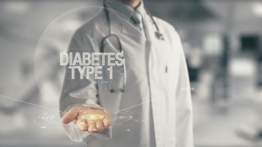 type 1 diabetes words in physician's hand