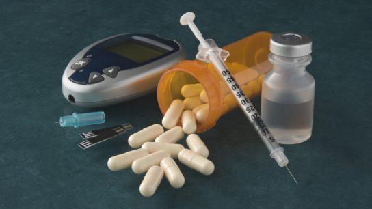 diabetic care, syringe, pills, glucose