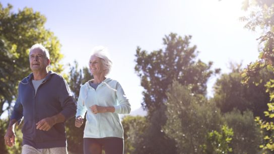 elderly couple running, exercise, physical activity